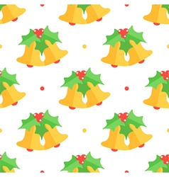 Christmas bell and mistletoe seamless pattern vector image