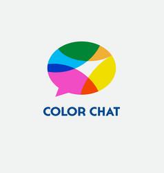color chat logo language school vector image