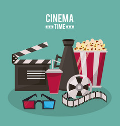 Colorful poster of cinema time with clapperboard vector