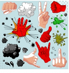 Comics hands collection vector