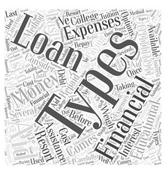 Common Types of Financial Aid Word Cloud Concept vector