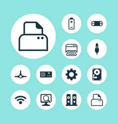 Computer icons set with paper printer scan vector