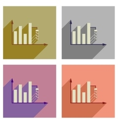 Concept of flat icons with long shadow money graph vector image