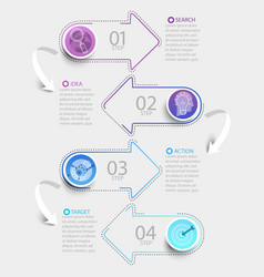Creative infographic with 4 steps and paper arrows vector