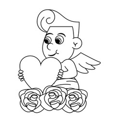 Cupid with heart and flowers vector