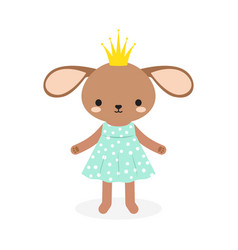 cute princess rabbit in crown vector image