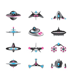 Different types spaceships vector