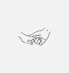 Drawing of holding hands isolated on white vector