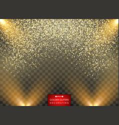 Effect golden glitters decorating vector