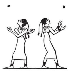 egyptian female ball games sport vintage vector image