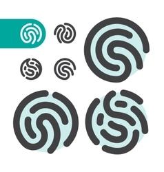 fingerprint logo icon set vector image