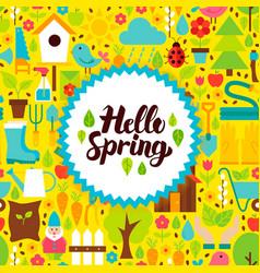 flat hello spring postcard vector image