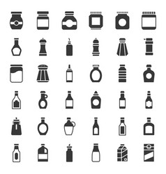 food and drink container icon set solid style vector image
