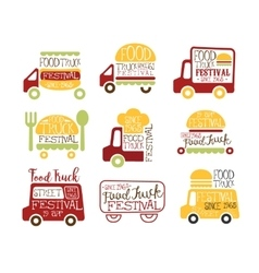 Food Truck Cafe Street Food Promo Signs Collection vector