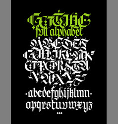 Full alphabet in gothic style letters vector