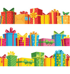 gift seamless border stack giftbox package set vector image