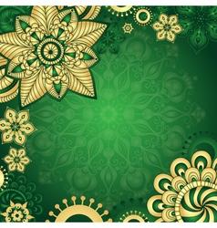 Gold-green vintage frame vector