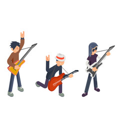Guitar player popular modern performer isometric vector
