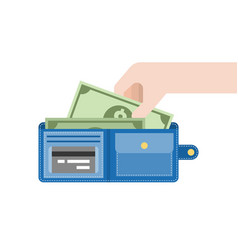 Hand pick dollar bank from blue wallet vector