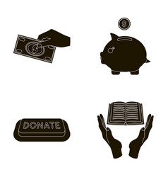hand with money for poshestvovaniya a piggy bank vector image