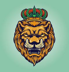 Head lion with cannabis crown vector