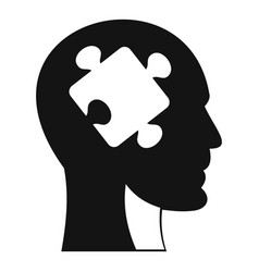 Head with puzzle icon simple style vector