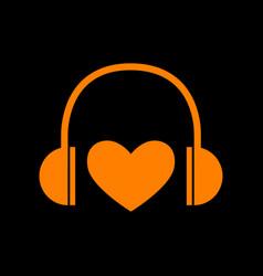 headphones with heart orange icon on black vector image
