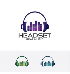 Headset beat logo design vector