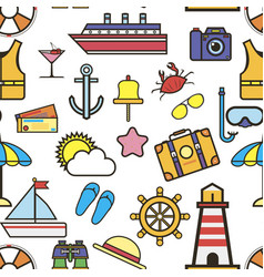 holiday rest seaside items seamless pattern vector image