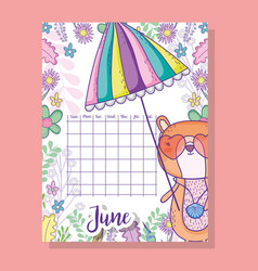 June calendar information with squirrel and plants vector