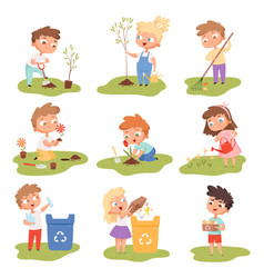 kids planting happy children gardening digging vector image