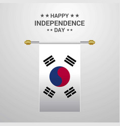 Korea south independence day hanging flag vector