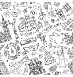 london winter seamless christmas doodles vector image