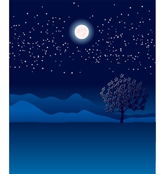 Lonely tree in night landscape vector