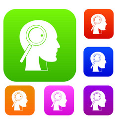 magnifying glass in head set color collection vector image