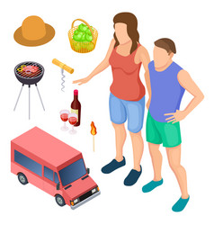 male and female campers and camping accessories vector image