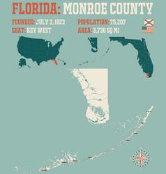 Map monroe county in florida vector