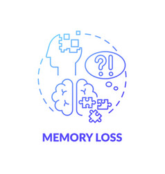Memory loss blue gradient concept icon vector