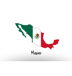 mexico country flag inside map contour design vector image