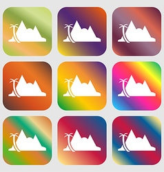 Mirage icon Nine buttons with bright gradients vector