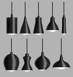 modern black ceiling lamp set realistic vector image