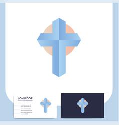 modern church 3d cross logo christian symbol for vector image