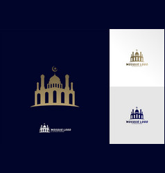 mosque simple icon logo design mosque moslem vector image