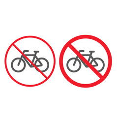 no bicycle line and glyph icon prohibition vector image
