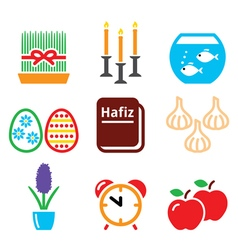 Nowruz - Persian New Year icons set - 21 March vector image
