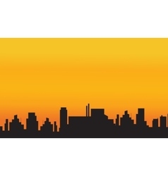 Orange backgrounds city silhouettes vector image