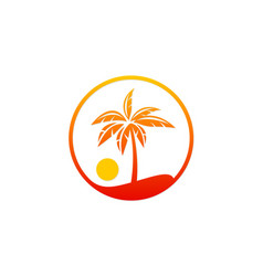 palm tree beach sunset holiday logo vector image