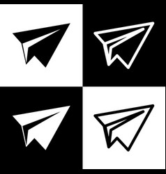 paper airplane sign black and white icons vector image