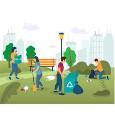 park cleaning concept for web banner vector image