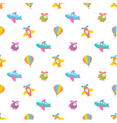 pattern with air transport toys vector image